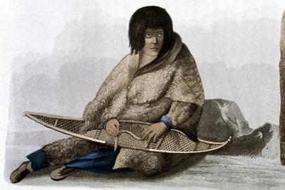Copper Indian Girl Mending Snow Shoe, 1823