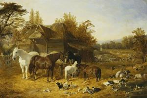 A Farmyard with Horses and Ponies, Berkshire, Saddlebacks, Alderney Shorthorn Cattle, Bantams,… by John Frederick Herring I