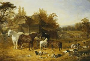A Farmyard with Horses and Ponies, Berkshire by John Frederick Herring I