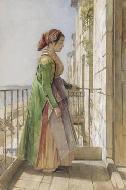 A Greek Girl Standing on a Balcony, C.1840 (W/C and Gouache over Graphite on Paper) by John Frederick Lewis