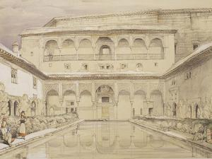 Court of the Myrtles (Patio De Los Arrayanes) and the Palace of Charles V by John Frederick Lewis