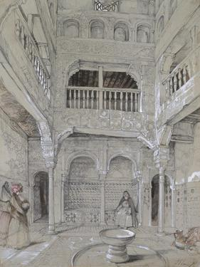 Entrance to the Baths at the Alhambra (Graphite and White Bodycolour with Brief Touches of Watercol by John Frederick Lewis