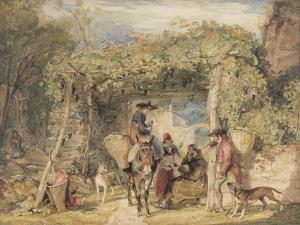 Figures and Animals in a Vineyard, C.1829 (W/C, Gouache and Graphite on Paper) by John Frederick Lewis
