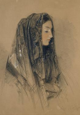 Head of an Italian Girl in a Mantilla by John Frederick Lewis