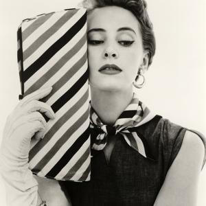 Barbara Miura with Madame Crystal Handbag and Neck Tie, 1953 by John French