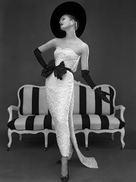 Model in John Cavanagh's Strapless Evening Gown, Spring 1957 by John French