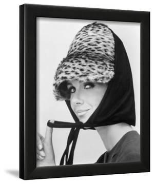 Nicole de la Marge in an Otto Lucas Jersey Scarf over an Ocelot Hat, 1964 by John French