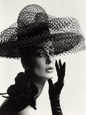 Tania Mallet in a Madame Paulette Stiffened Net Picture Hat, 1963 by John French