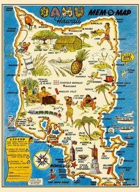 Oahu, Hawaii Mem-O-Map - World War II Military Souvenir Map by John G. Drury