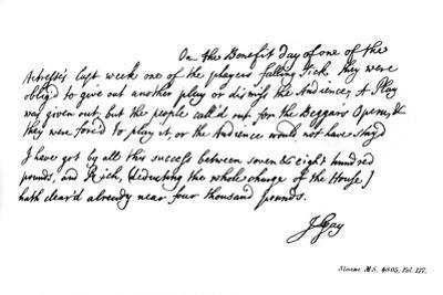 Part of a Letter from John Gay to Dean Swift, C1728
