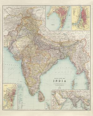 Thacker's Reduced Survey Map of India by John George Bartholomew