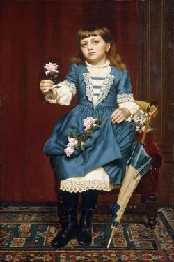 Daisy Mccomb Holding a Pink Rose, 1888 by John George Brown