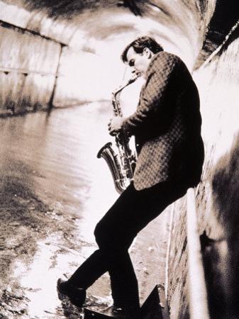 Saxophone Player in Tunnel by John Glembin