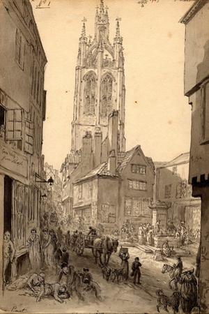 The Old Gin Shop Near St. Nicholas Church, Newcastle, 1805 (Pencil and Ink on Paper) by John Glover