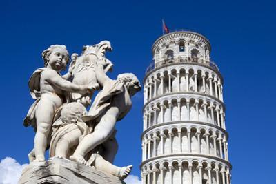 The Leaning Tower of Pisa, campanile or bell tower, Fontana dei Putti, Piazza del Duomo, UNESCO Wor by John Guidi