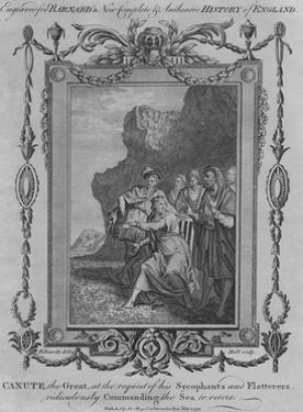 'Canute the Great, at the request of his Sycophants and Flatterers, ridiculously Commanding the Sea by John Hall