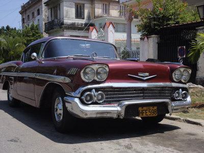 Classic Chevrolet Impala Saloon Car, Vedado, Havana, Cuba, West Indies, Central America