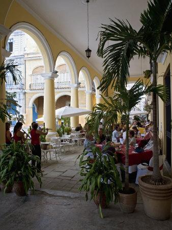 Female Reed Trio Playing to Diners at the Santo Angel Restaurant, Plaza Vieja, Old Havana