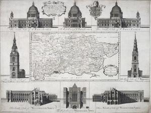 Map of the Diocese of London, 1720 by John Harris
