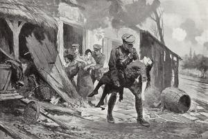 Gunner J Rafferty Carrying a Wounded Woman to Safety from a Farmhouse Which Was Being Shelled by John Harris Valda