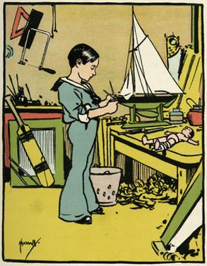 Boy Making Toys C1900 by John Hassall
