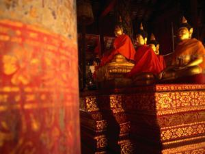 Buddha Statues Inside Wat Phra That in Northern Thailand, Thailand by John Hay