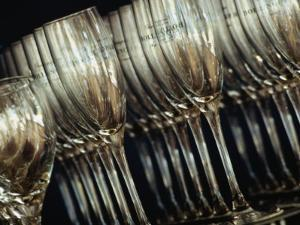 Rows of Champagne Flutes and Wine Glasses in Bar Melbourne, Victoria, Australia by John Hay