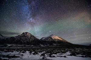 Tromtind, Mellomtind and the Milky Way by John Hemmingsen