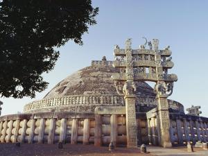 Buddhist Stupa and Torana (Gateway) of Stupa 1, Known as the Great Stupa, Madhya Pradesh, India by John Henry Claude Wilson