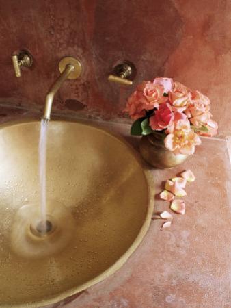 Detail of Brass Hand Beaten Bathroom Sink in Bathroom Area of Residence, Amber, Near Jaipur, India by John Henry Claude Wilson