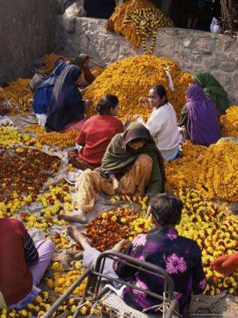 Flower Market, Lado Sarai, Delhi, India by John Henry Claude Wilson
