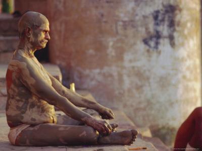 Hindu Pilgrim Meditating, Sitting Cross-Legged on the Ghats, Varanasi, Uttar Pradesh State, India by John Henry Claude Wilson