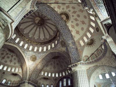Interior of the Blue Mosque (Sultan Ahmet Mosque), Unesco World Heritage Site, Istanbul, Turkey