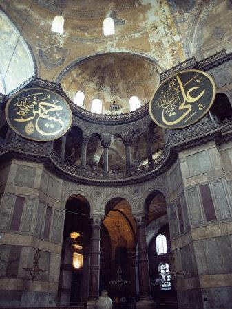 Interior of the Santa Sophia with Huge Medallions Inscribed with the Names of Allah, Istanbul