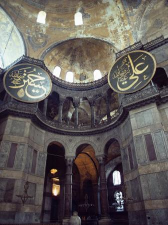 Interior of the Santa Sophia with Huge Medallions Inscribed with the Names of Allah, Istanbul by John Henry Claude Wilson