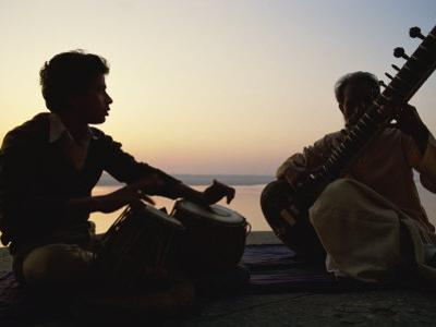 Sitar and Tabla Player Beside the Ganga River, Varanasi, Uttar Pradesh State, India by John Henry Claude Wilson