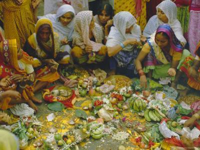 Women at the Lakshmi Puja Festival Celebrating Lakshmi, the Hindu Goddess of Wealth and Beauty by John Henry Claude Wilson