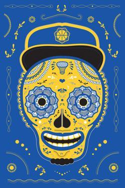 Hoops Skull Blue by John Hersey