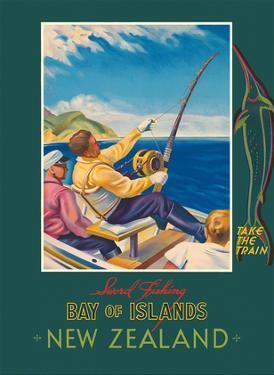 Bay of Islands - New Zealand - Sword Fishing - New Zealand Railways by John Holmwood