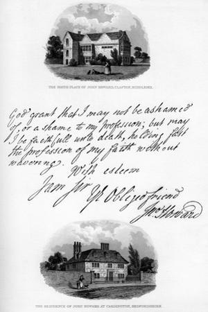 A Letter by John Howard, and a View of His Residence at Cardington, Mid-Late 18th Century by John Howard