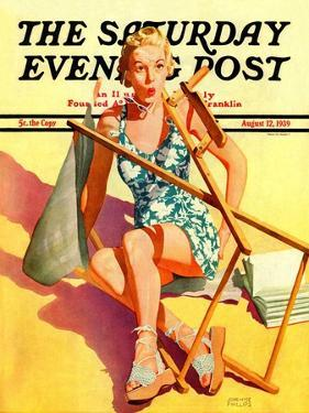 """""""Broken Beach Chair,"""" Saturday Evening Post Cover, August 12, 1939 by John Hyde Phillips"""