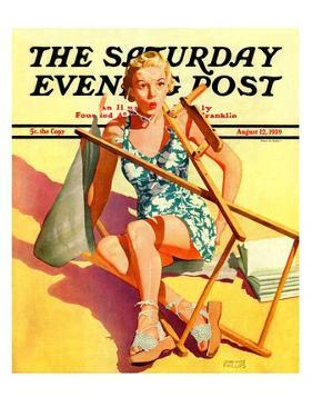 """Broken Beach Chair,"" Saturday Evening Post Cover, August 12, 1939 by John Hyde Phillips"