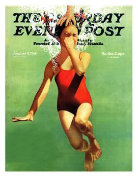 """""""Dunked Under Water,"""" Saturday Evening Post Cover, August 9, 1941 by John Hyde Phillips"""