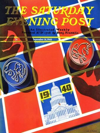 """Election Checkerboard,"" Saturday Evening Post Cover, September 14, 1940 by John Hyde Phillips"