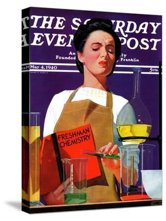 """Freshmen Chemistry,"" Saturday Evening Post Cover, May 4, 1940"