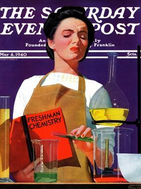 """Freshmen Chemistry,"" Saturday Evening Post Cover, May 4, 1940 by John Hyde Phillips"