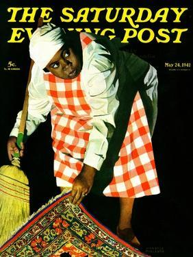 """""""Sweep it Under the Rug,"""" Saturday Evening Post Cover, May 24, 1941 by John Hyde Phillips"""