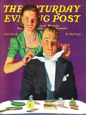 """""""Tying a Tux Tie,"""" Saturday Evening Post Cover, April 26, 1941 by John Hyde Phillips"""
