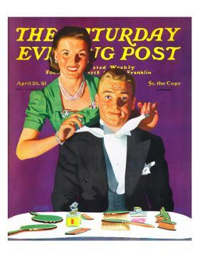 """Tying a Tux Tie,"" Saturday Evening Post Cover, April 26, 1941 by John Hyde Phillips"