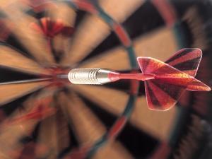 Dart in Bull's Eye on Dart Board by John James Wood